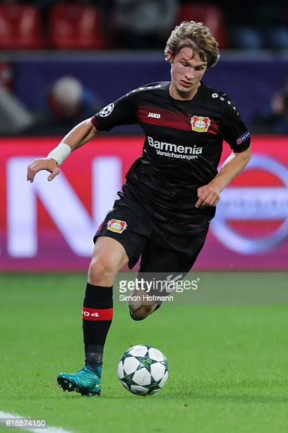 Tin Jedvai of Leverkusen controls the ball during the UEFA Champions League match between Bayer 04 Leverkusen and Tottenham Hotspur FC at BayArena on...