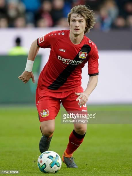 Tin Jedvaj of Bayer Leverkusen during the German Bundesliga match between Bayer Leverkusen v Schalke 04 at the BayArena on February 25 2018 in...