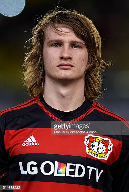 Tin Jedvaj of Bayer Leverkusen looks on prior to the UEFA Europa League Round of 16 first leg match between Villarreal and Bayer Leverkusen at El...