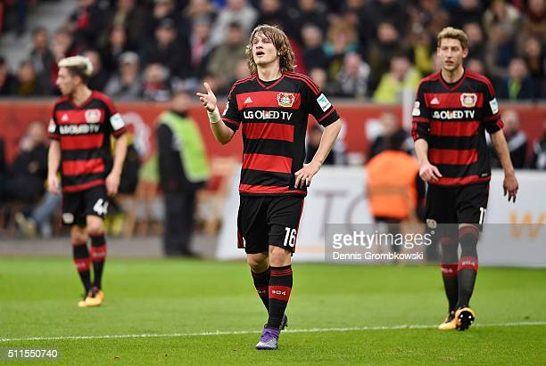Tin Jedvaj of Bayer Leverkusen reacts during the Bundesliga match between Bayer Leverkusen and Borussia Dortmund at BayArena on February 21 2016 in...