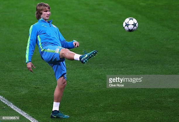 Tin Jedvaj of Bayer Leverkusen volleys a ball during the Bayer 04 Leverkusen Training Session ahead of their UEFA Champions League match against...