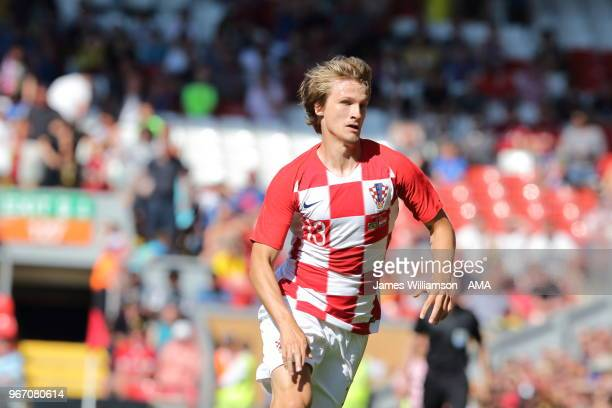 Tin Jedvaj of Croatia during the International friendly match between Croatia and Brazil at Anfield on June 3 2018 in Liverpool England