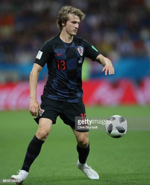 Tin Jedvaj of Croatia in action during the 2018 FIFA World Cup Russia group D match between Iceland and Croatia at Rostov Arena on June 26 2018 in...