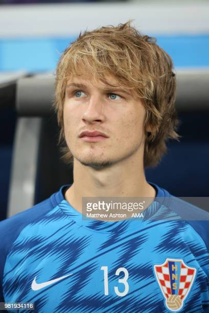 Tin Jedvaj of Croatia ooks on prior to the 2018 FIFA World Cup Russia group D match between Argentina and Croatia at Nizhny Novgorod Stadium on June...