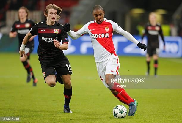 Tin Jedvaj of Leverkusen and Abdou Diallo of Monaco battle for the ball during the UEFA Champions League match between Bayer Leverkusen and AS Monaco...