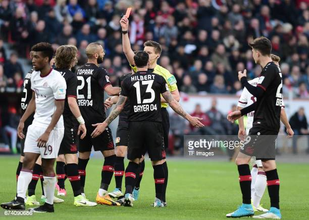 Tin Jedvaj of Leverkusen became a red carded during the Bundesliga match between Bayer 04 Leverkusen and Bayern Muenchen at BayArena on April 15 2017...