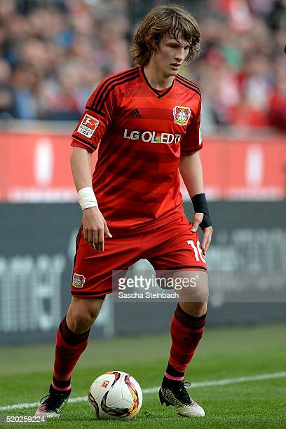 Tin Jedvaj of Leverkusen controls the ball during the Bundesliga match between 1 FC Koeln and Bayer Leverkusen at RheinEnergieStadion on April 10...
