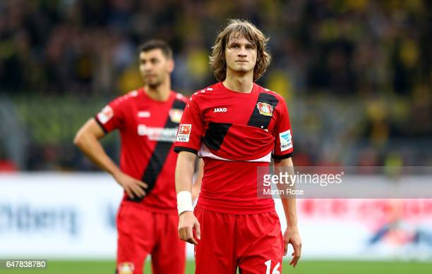 Tin Jedvaj of Leverkusen looks dejected after the Bundesliga match between Borussia Dortmund and Bayer 04 Leverkusen at Signal Iduna Park on March 4...