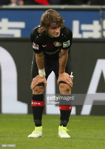 Tin Jedvaj of Leverkusen looks dejected during to the Bundesliga match between Bayer 04 Leverkusen and FC Schalke 04 at BayArena on April 28 2017 in...