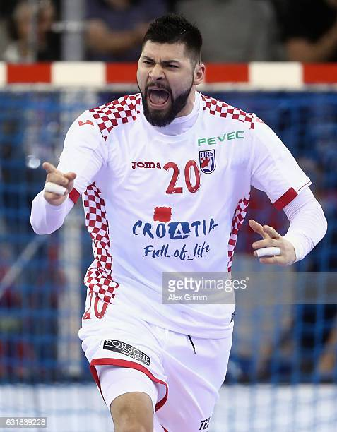 Tin Kontrec of Croatia celebrates a goal during the 25th IHF Men's World Championship 2017 match between Croatia and Belarus at Kindarena on January...