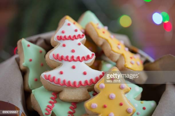 Tin of Christmas tree cookies