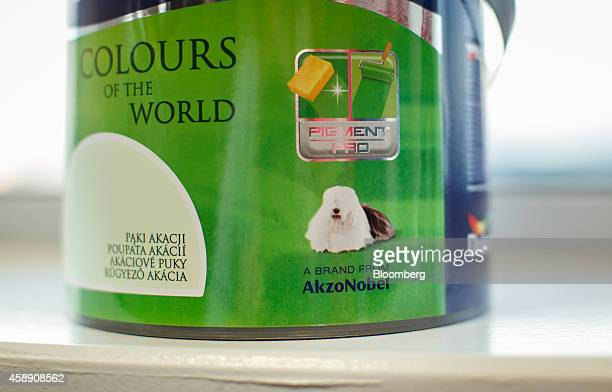 A tin of Dulux paint manufactured by Akzo Nobel NV sits on display at the company's headquarters in Amsterdam Netherlands on Thursday Nov 13 2014...
