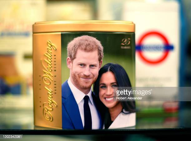 Tin tea caddy commemorating the 2018 wedding of Prince Harry and Meghan Markle for sale in a store in Santa Fe, New Mexico.