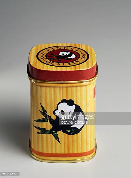 Tin tea caddy decorated with pandas 20th century Unspecified