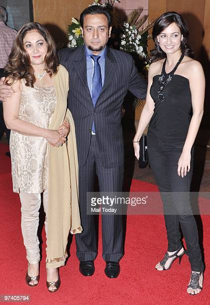 Tina Ambani with Gulshan Grover and Diya Mirza at Big Pictures' success bash held in Mumbai on February 28 2010