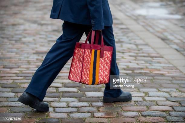 Tina Andrea seen wearing Coach bag, blue suit outside Mykke Hofmann on Day 1 during Copenhagen Fashion Week Autumn/Winter 2020 on January 28, 2020 in...