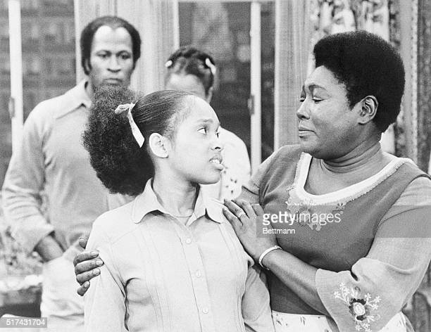 Tina Andrews and Esther Rolle in a scene from an episode of the TV series, Good Times. John Amos stands in the background. Rebroadcast August 12,...