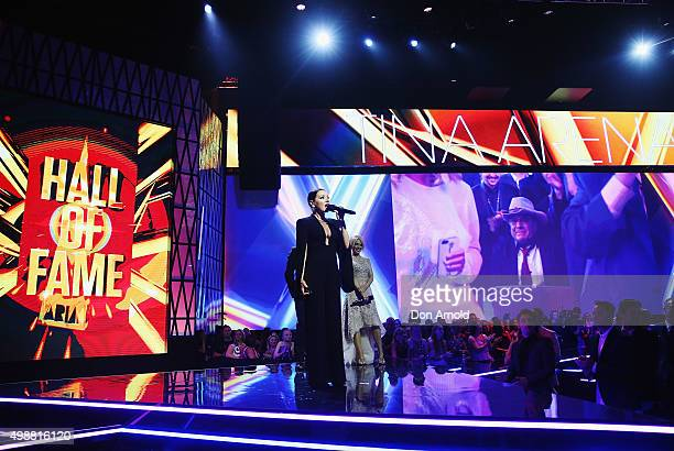 Tina Arena addresses the audience after being inducted into the Aria Hall of Fame during the 29th Annual ARIA Awards 2015 at The Star on November 26...