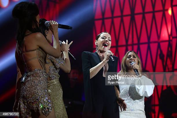 Tina Arena performs on stage with The Veronicas and Jessica Mauboy during the 29th Annual ARIA Awards 2015 at The Star on November 26 2015 in Sydney...