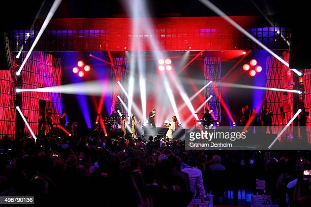 Tina Arena performs with The Veronicas and Jessica Mauboy perform during the 29th Annual ARIA Awards 2015 at The Star on November 26 2015 in Sydney...