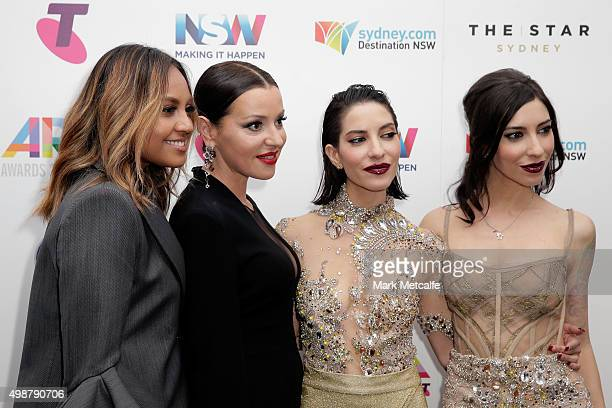Tina Arena poses with The Veronicas and Jessica Mauboy in awards room after being inducted into the ARIA Hall of Fame during the 29th Annual ARIA...