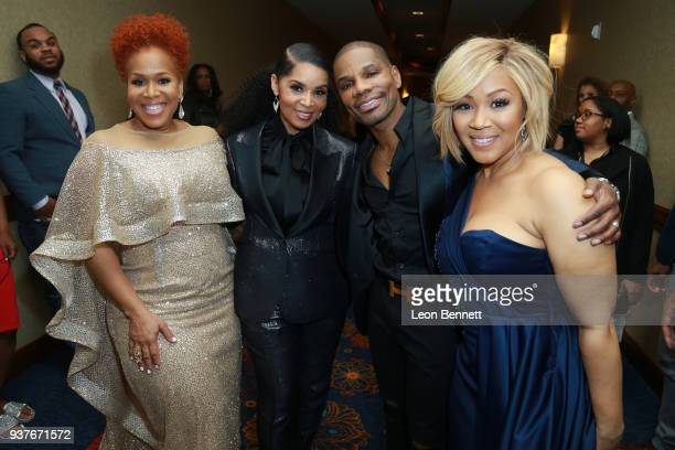 Tina Atkins Tammy Collins Kirk Franklin and Erica Atkins visits the Press Room at the 33rd annual Stellar Gospel Music Awards at the Orleans Arena on...