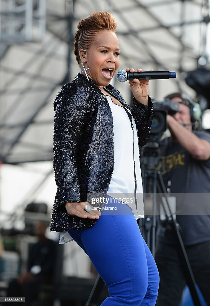 Tina Atkins-Campbell of Mary Mary performs at the 8th Annual Jazz in the Gardens Day 2 at Sun Life Stadium presented by the City of Miami Gardens on March 17, 2013 in Miami Gardens, Florida.