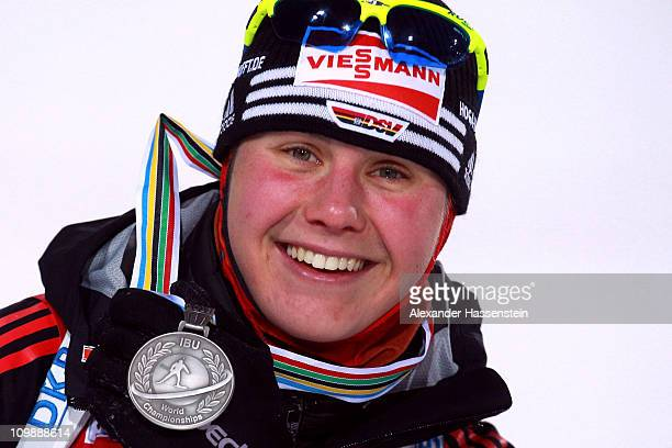 Tina Bachmann of Germany poses with her silver medal at the medal ceremony for the women's 15km individual race during the IBU Biathlon World...