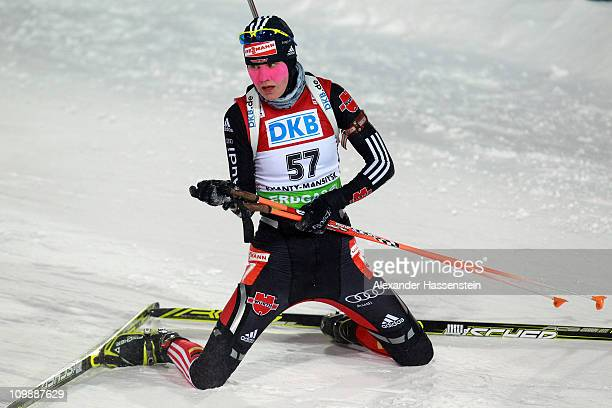 Tina Bachmann of Germany reacts at the finish area after the women's 15km individual race during the IBU Biathlon World Championships at A.V....