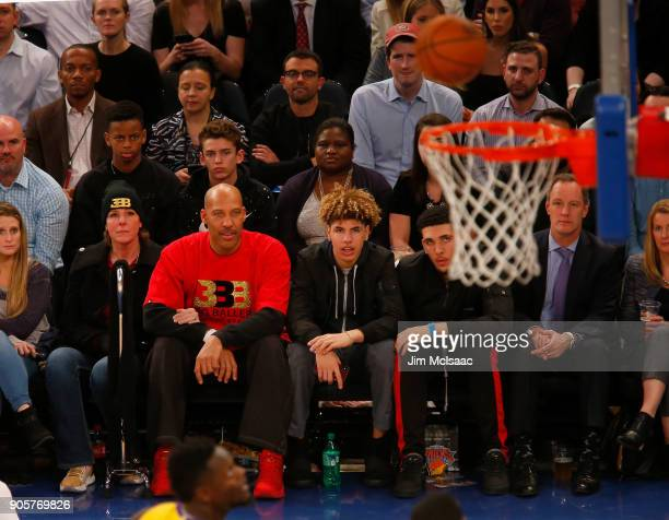Tina Ball LaVar Ball LaMelo Ball and LiAngelo Ball attend a game between the New York Knicks and the Los Angeles Lakers at Madison Square Garden on...