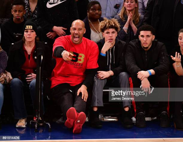 Tina Ball LaVar Ball LaMelo Ball and LiAngelo Ball attend the Los Angeles Lakers Vs New York Knicks game at Madison Square Garden on December 12 2017...
