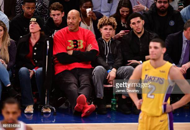 Tina Ball LaVar Ball LaMelo Ball LiAngelo Ball and Lonzo Ball attend the Los Angeles Lakers Vs New York Knicks game at Madison Square Garden on...