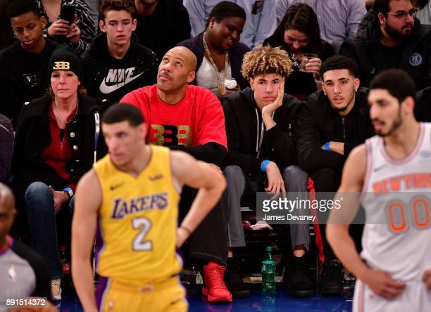 Tina Ball Lonzo Ball LaVar Ball LaMelo Ball and LiAngelo Ball attend the Los Angeles Lakers Vs New York Knicks game at Madison Square Garden on...