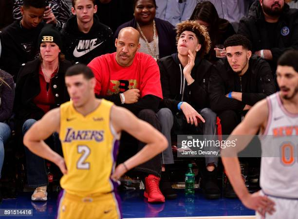 Tina Ball, Lonzo Ball, LaVar Ball, LaMelo Ball and LiAngelo Ball attend the Los Angeles Lakers Vs New York Knicks game at Madison Square Garden on...