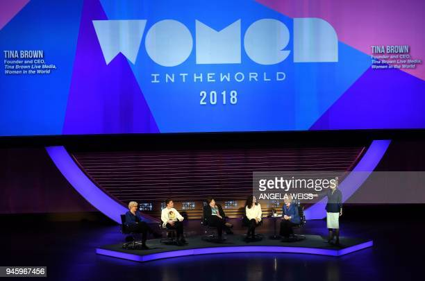 Tina Brown addresses Carrie Gracie Tamara Chergoleishvili Yevgenia Albats Ece Temelkuran and Hillary Rodham Clinton onstage at the Women of the World...