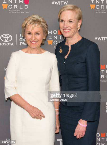Tina Brown and Cecile Richards attend Eighth Annual Women In The World Summit at David H Koch Theater Lincoln Center on April 5 2017 in New York City
