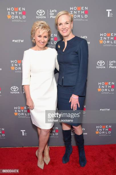 Tina Brown and Cecile Richards attend the Eighth Annual Women In The World Summit at Lincoln Center for the Performing Arts on April 5 2017 in New...