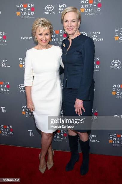Tina Brown and President of the Planned Parenthood Federation of America Cecile Richards attend the 8th Annual Women In The World Summit at Lincoln...