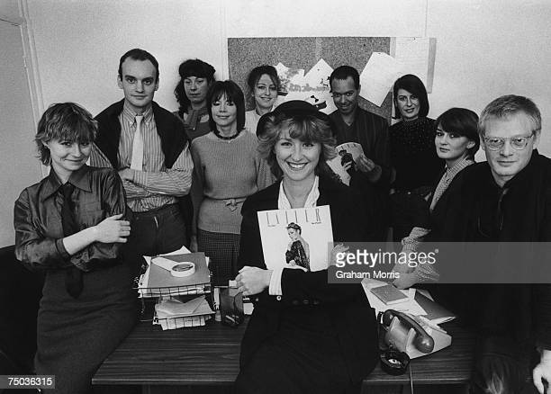 Tina Brown editor of Tatler magazine with the rest of the publication's staff at their Mayfair office 15th November 1979