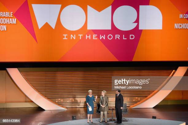 Tina Brown Former United States Secretary of State Hillary Clinton and Journalist Nicholas Kristof speak during the Eighth Annual Women In The World...