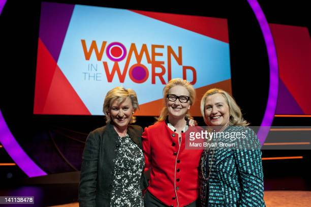 Tina Brown Meryl Streep and Hillary Rodham Clinton attends Women in the World Stories Solutions at the David H Koch Theater Lincoln Center on March...