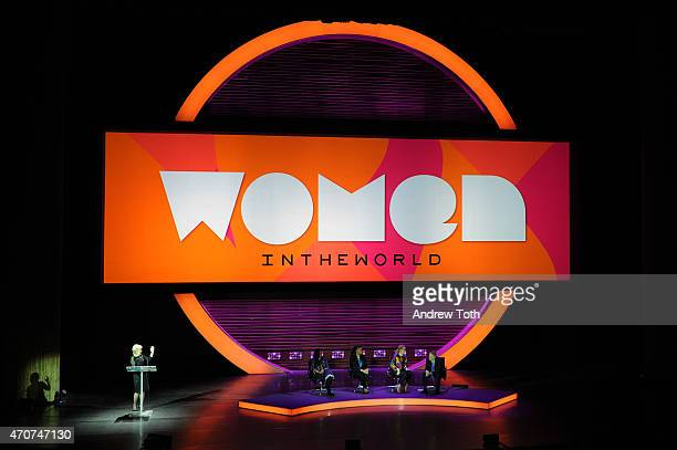 Tina Brown Sharmeen ObaidChinoy Ava DuVernay Meryl Streep and Jon Stewart appear onstage during the Women In World Summit at the David H Koch Theater...