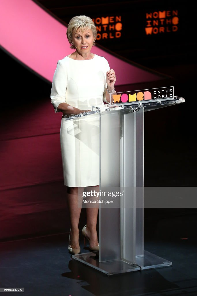 Tina Brown speaks on stage at the 8th Annual Women In The World Summit at Lincoln Center for the Performing Arts on April 5, 2017 in New York City.