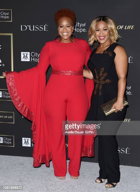 Tina Campbell and Erica Campbell of Mary Mary attend City of Hope Gala on October 11 2018 in Los Angeles California
