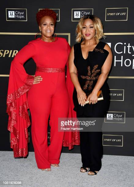 Tina Campbell and Erica Campbell of Mary Mary attend the City of Hope Spirit of Life Gala 2018 at Barker Hangar on October 11 2018 in Santa Monica...