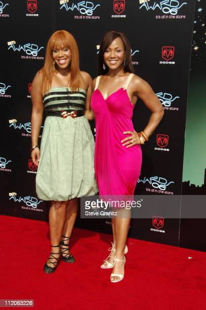 Tina Campbell and Erica Campbell of Mary Mary during 6th Annual BET Awards Arrivals at Shrine Auditorium in Los Angeles CA United States