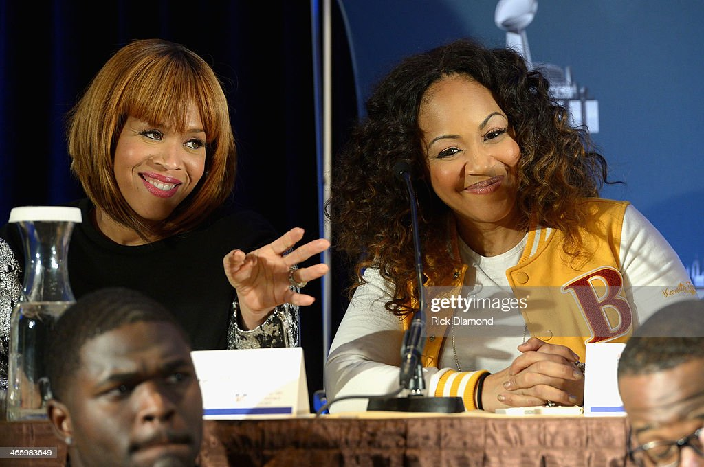 Tina Campbell (L) and Erica Campbell of Mary Mary speak at the Super Bowl Gospel Celebration press conference at Super Bowl XLVIII Media Center, Sheraton Times Square on January 30, 2014 in New York City.