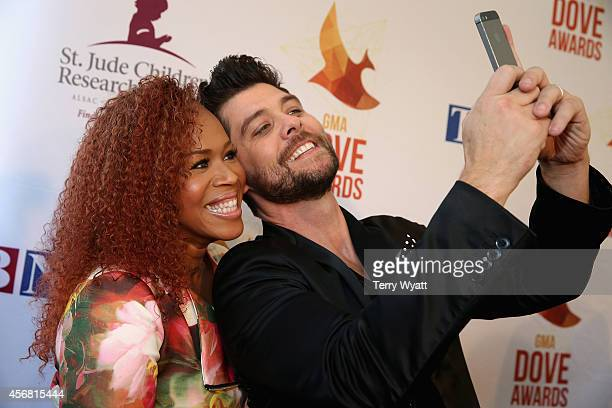 Tina Campbell and Jason Crabb arrive at the 45th Annual Dove Awards at Allen Arena, Lipscomb University on October 7, 2014 in Nashville, Tennessee.