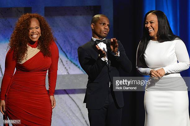Tina Campbell Kirk Franklin and Erica Campbell attend the 28th Annual Stellar Awards Show at Grand Ole Opry House on January 19 2013 in Nashville...
