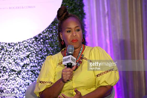 Tina Campbell of Mary Mary speaks onstage during the 'The FaithBased Personalities – Staying True to Themselves and Fans' panel at Variety's Purpose...
